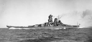 高知県宿毛市沖で試験運転する戦艦「大和」=1941年撮影(大和ミュージアム提供)