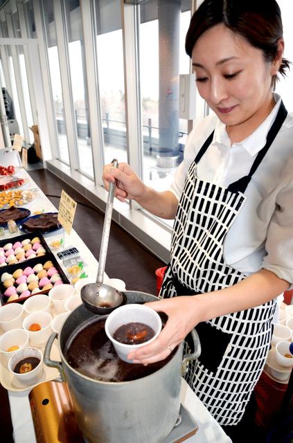 試食会に出品された網走産小豆のお汁粉など=網走市