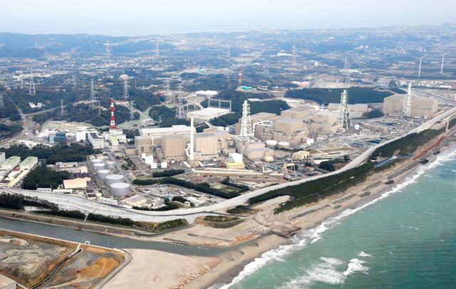 標高22メートルの防波壁に囲まれた中部電力浜岡原発=3月、静岡県御前崎市、朝日新聞社ヘリから