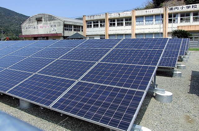 旧浦内小学校の校庭に敷き詰められた太陽光パネル