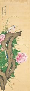 鶴亭「牡丹綬帯鳥図」(1769年、神戸市立博物館蔵)