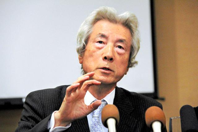 「早く原発ゼロの世界を」と記者会見で訴える小泉純一郎元首相=カールスバッド、平山亜理撮影