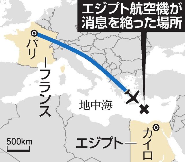 エジプト航空機が消息を絶った場所
