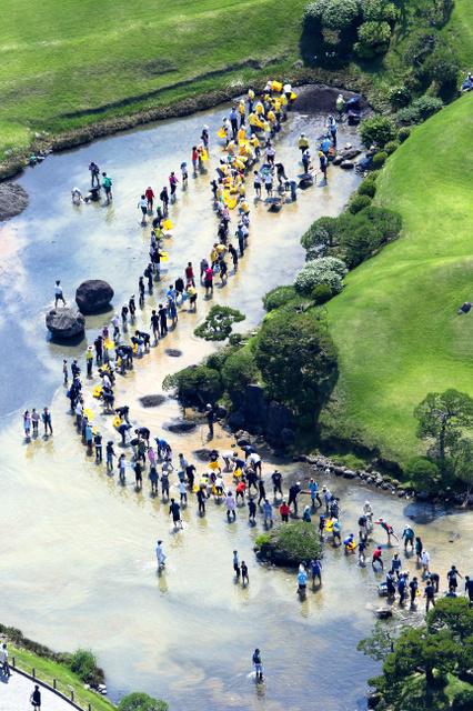 水前寺成趣園の池で清掃活動する人たち=21日午前10時7分、熊本市中央区、朝日新聞社ヘリから、堀英治撮影