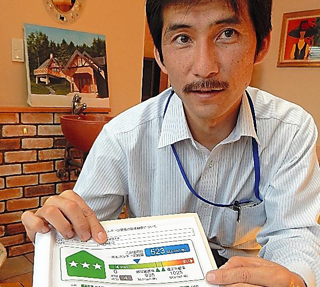 戸建て住宅のエネルギー消費量を記した資料を見せる北信商建の木村大樹さん=長野市
