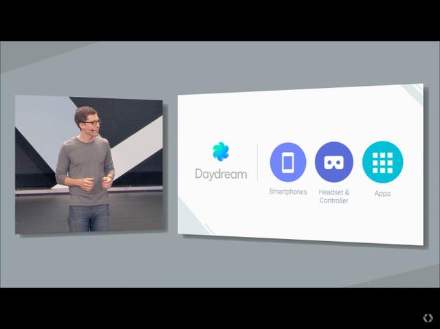 画像1 Google I/O 2016の基調講演より。グーグルはスマートフォン向けVRプラットフォーム「Daydream」を発表した