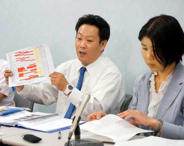 当時の部活動計画表を手に、教育現場での熱中症予防を訴える原告の父親(左)=大阪市北区