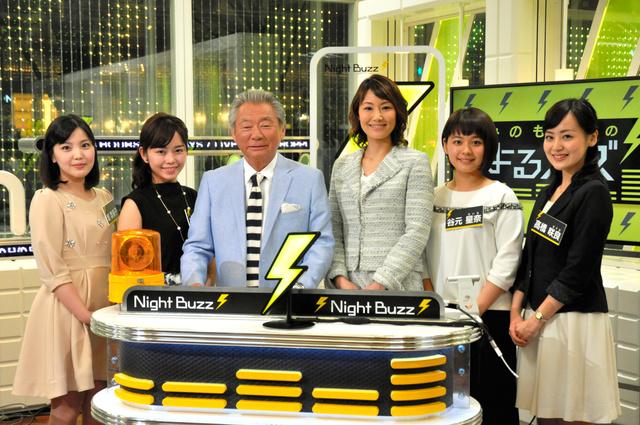 毎週土曜午後8時の生番組「みのもんたのよるバズ!」の出演者たち=東京・六本木のテレビ朝日