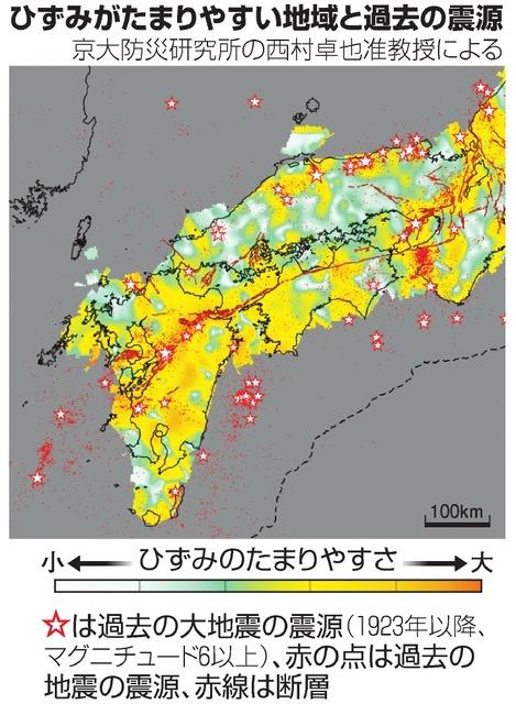 ひずみがたまりやすい地域と過去の震源