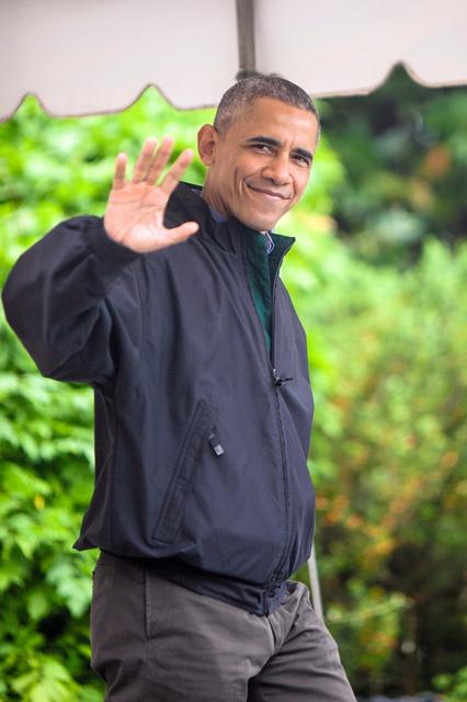 今回のアジア外遊に向かうオバマ大統領=21日、ワシントンのホワイトハウス、ランハム裕子撮影