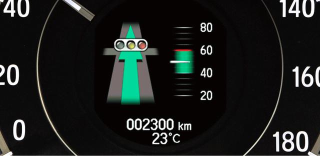 速度計の中央部に、次の信号機に着くころに「何色になっているか」が表示される=ホンダ提供