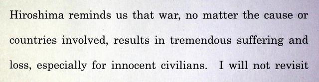 オバマ大統領が広島に関連し「戦争は罪なき市民に苦しみと喪失をもたらす」と答えた部分