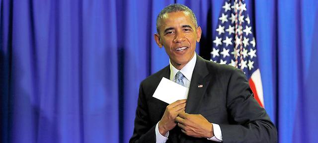 三重県志摩市で26日、伊勢志摩サミットの記者会見場を後にするオバマ米大統領=ロイター