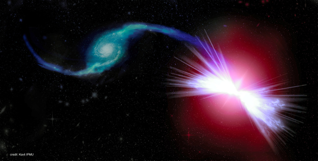 Tetsuo(左)のガスが、Akiraのブラックホールに吸い込まれる様子のイメージ図=東大カブリ数物連携宇宙研究機構提供