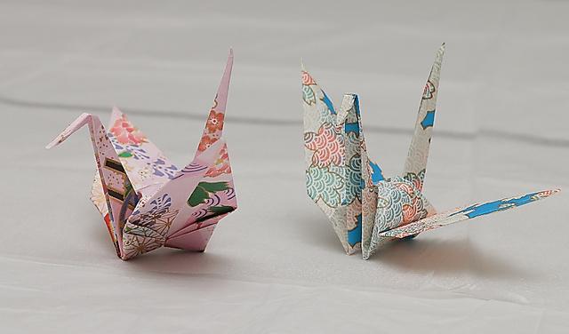 オバマ氏から贈られた折り鶴=27日、広島市中区、高橋雄大撮影
