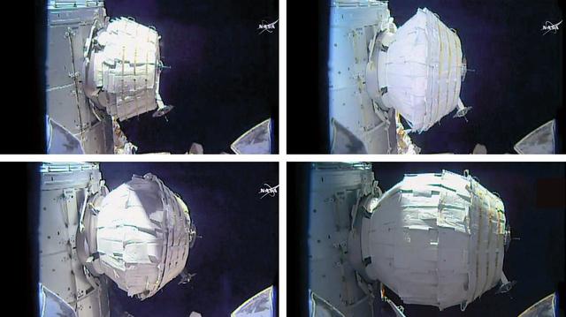 国際宇宙ステーションに取り付けられ、徐々に膨らんでいく試験用居住施設の様子(NASA提供)