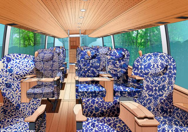 色鮮やかなモケット生地を使う座席の完成予想図。別にレザー仕様もある(C)Design by Eiji Mitooka+Don Design Associates