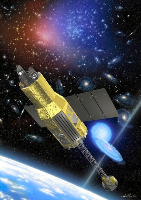 X線天文衛星「ひとみ」のイメージ図=池下章裕さん提供