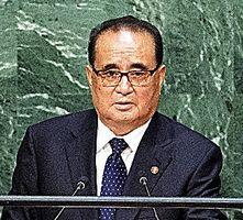 国連本部で2015年10月、演説する北朝鮮の李洙ヨン氏=ロイター