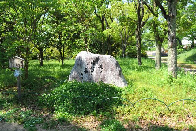 大阪城公園にひっそりと立つ鶴彬の句碑=大阪市中央区