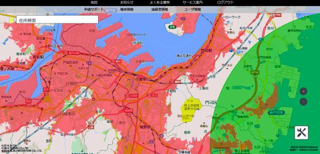 ドローン専用地図「ソラパス」で見た北九州市。人口集中地区や空港周辺など飛行が制限されるエリアがピンク色や緑色で表示される