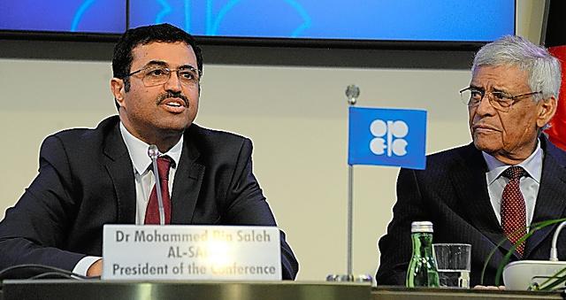 OPEC総会の議長として記者会見するカタールのサダ・エネルギー産業相(左)=2日、ウィーン、渡辺淳基撮影