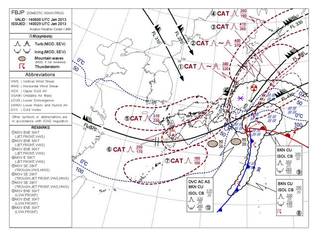 2013年1月14日の朝に発表された「悪天予想図」。晴れた空で突然乱気流に遭遇する恐れがある所は、山型のマークと「CAT」の表示で示されている