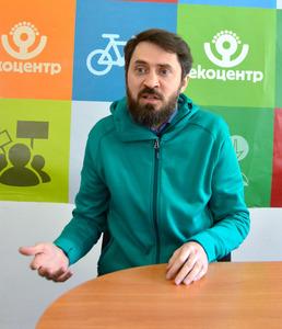 NGOウクライナ国立生態学センターのオレクシー・パシューク氏。「ウクライナの原発はリスクが大きすぎる」と指摘する=ウクライナ・キエフ