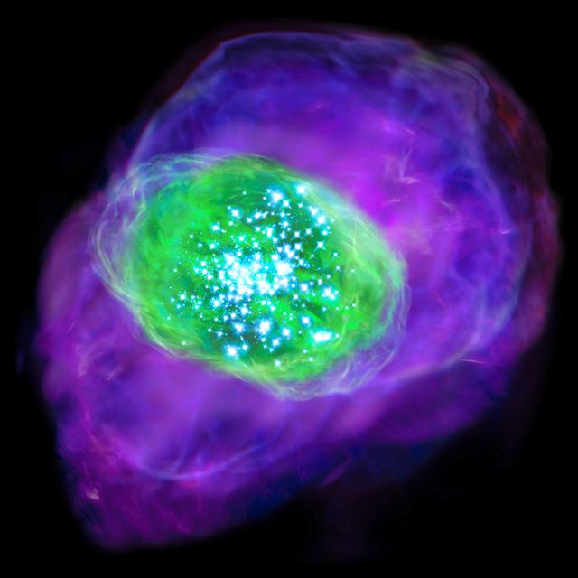 131億光年離れた銀河のイメージ図。巨大な星の紫外線によって電子をはがされた酸素が緑色に光っている=国立天文台提供