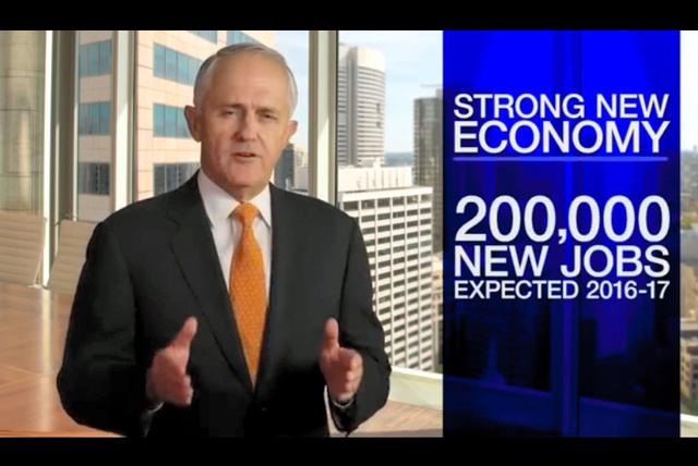 ターンブル首相が党首を務める自由党の選挙キャンペーン広告。「雇用と成長」を強調した内容だ=自由党の公式ウェブサイトから