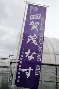 賀茂ナスを作る畑には、「上賀茂特産野菜研究会」ののぼりがはためいていた=京都市北区、佐藤慈子撮影