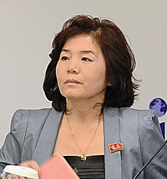 北朝鮮のチェ・ソンヒ外務省米州局副局長=22日、北京、倉重奈苗撮影