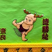化粧まわしに「せんとくん」 奈良県、徳勝龍関に贈る