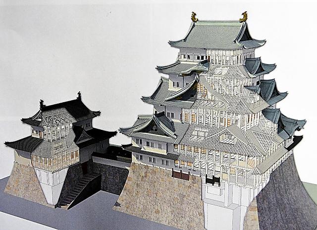 名古屋城天守閣の木造再建のイメージ=名古屋市が優先交渉権者に選んだ竹中工務店の技術提案書から