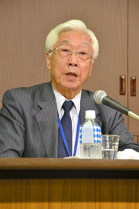 NHKの新しい経営委員長に決まった石原進氏=28日午後8時47分、NHK放送センター、滝沢文那撮影