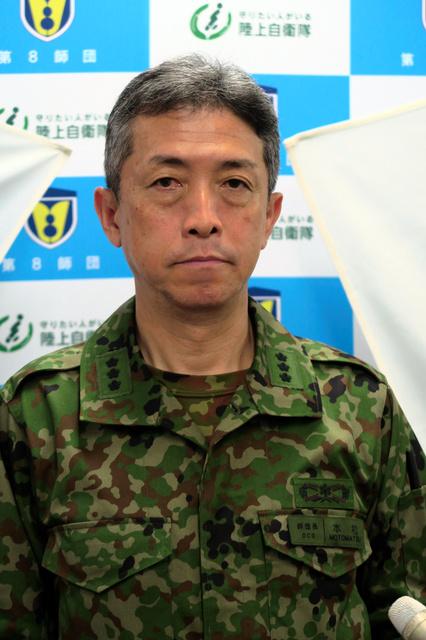 本松敬史・陸上自衛隊第8師団長=2日、熊本市北区の北熊本駐屯地