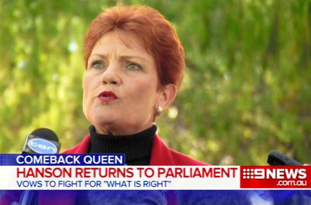 オーストラリア政界に戻ってきたワン・ネーション党のポーリン・ハンソン党首=豪民放ナイン・ニュースから
