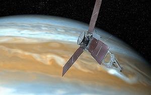 木星に近づくジュノーの想像図=NASA提供