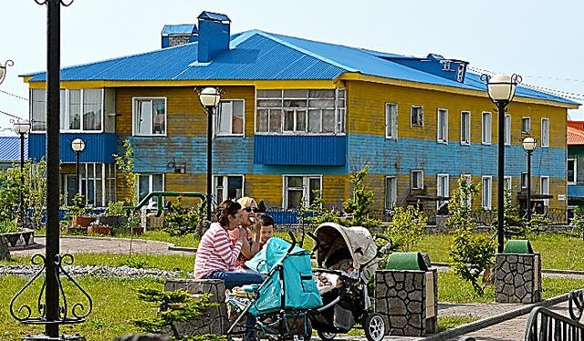 択捉島中心部で整備が進む住宅街
