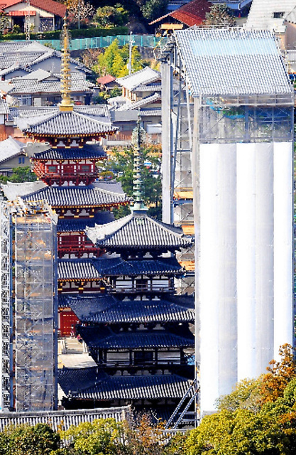 素屋根で覆われる薬師寺東塔=2011年12月撮影