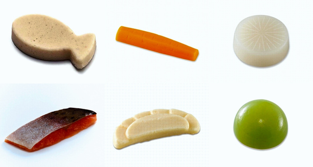 マルハニチロ「やさしい素材」シリーズ。左上から時計回りに、「白身魚」「とけない にんじん」「とけない だいこん」「キウイ」「やさしいおかず みためがギョウザ」「New素材deソフト ピンクサーモン」