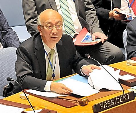 議事進行する日本の別所浩郎・国連大使=7日、米ニューヨークの国連本部