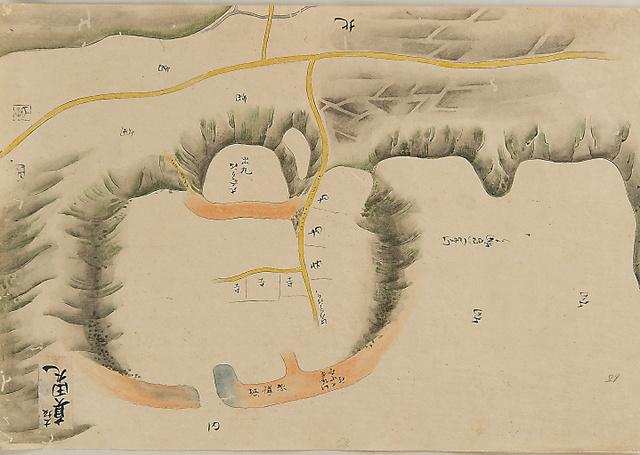 松江で見つかった絵図(180度回転し北を上にしています)。大坂城はこの絵図のさらに北にある=松江歴史館提供