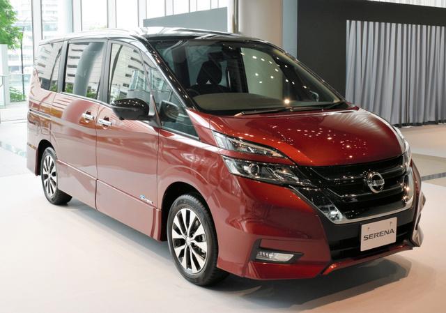 日産自動車が自動運転機能を搭載したモデルを8月下旬に発売する新型セレナ=横浜市