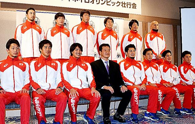 水球男子代表の壮行会=6月27日、東京都港区