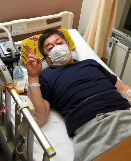 脳脊髄液減少症と診断されて入院した東裕也さん=本人提供