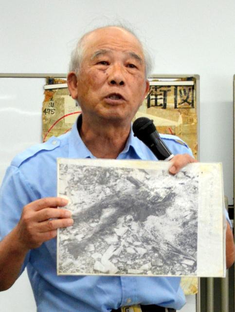 長崎原爆の被害経験から核廃絶を訴える末永浩さん=秋田市のにぎわい交流館AU