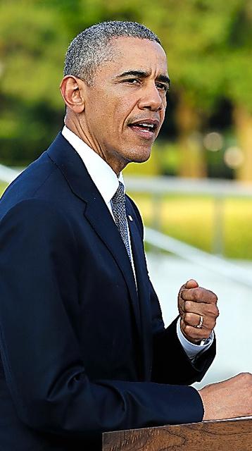 広島で演説するオバマ米大統領=5月27日、広島市の平和記念公園、代表撮影