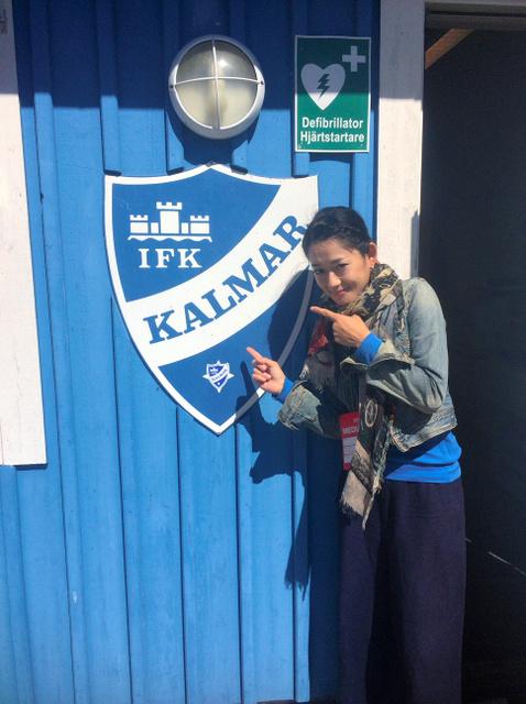 なでしこジャパンが遠征したスウェーデン・カルマルで、地元のクラブチームのエンブレムと