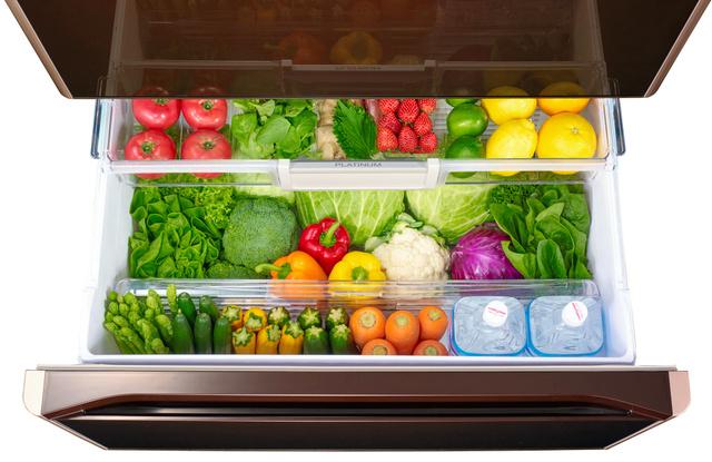 触媒によって野菜を眠らせたように保存できる日立アプライアンスの冷蔵庫の野菜室
